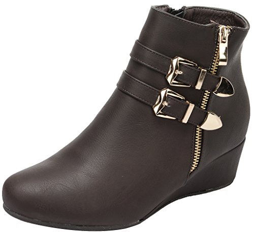 Dream Pairs New Womens GHILE Fashion Double Buckle Side Zipper Platform Wedge Heel Shoes Booties Boots