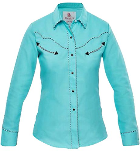 Modestone Women's Long Sleeved Western Camicia Cowboy Dotted Piping Turquoise