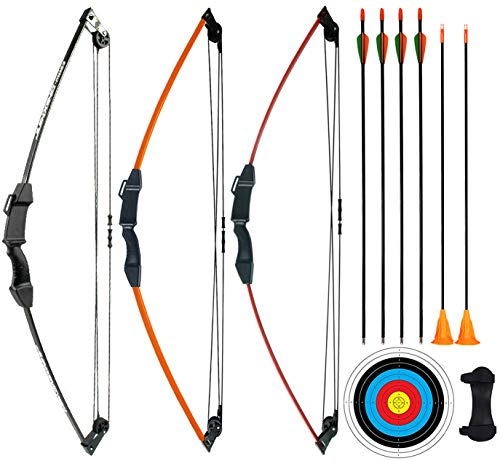 """CPTARCH 32"""" Archery Compound Bow and Arrow Set Two-Wheeled Bow for Sports Game Target Shooting Toy Gift Bow with Safety Fiberglass Arrow and Sucker Arrow for Youth Kids Beginners Juniors (Black)"""