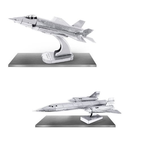 (Metal Earth 3D Laser Cut Models - Lockheed Martin SR71 Blackbird AND F35 Lightning II Jet Airplanes = SET OF 2)