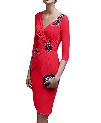 V Charmant Etuikleider Kurz Abendkleider Flieder Brautmutterkleider Knielang ausschnitt Damen Partykleider Rot qnUtnpwT