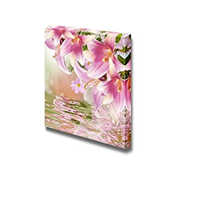 Canvas Prints Wall Art - Exotic Flowers with Reflection on Water Flora Art | Modern Wall Decor/Home Decoration Stretched Gallery Canvas Wrap Giclee Print & Ready to Hang - 12