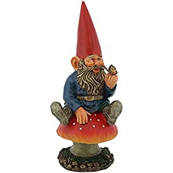 Sunnydaze Garden Gnome Adam The Playful with Butterfly, Outdoor Lawn Statue, 14 Inch Tall
