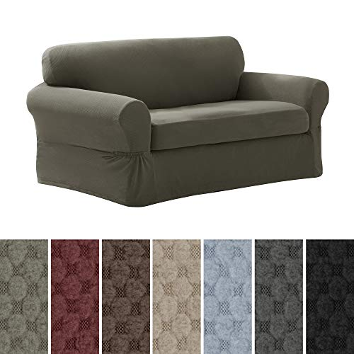 MAYTEX Pixel Ultra Soft Stretch 2 Piece Loveseat Furniture Cover Slipcover, Dusty Olive Green