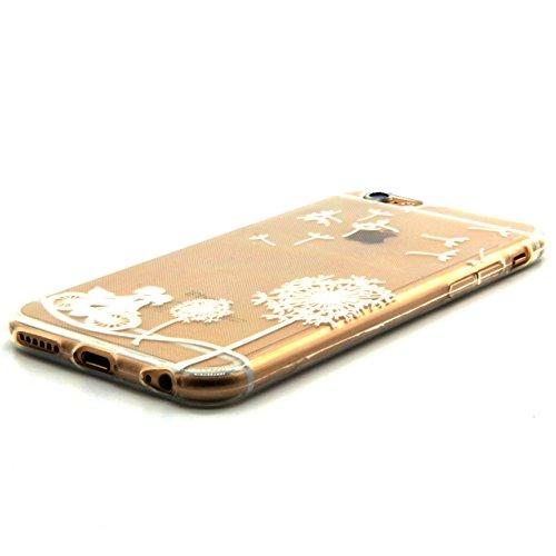 iPhone 6S plus Case,iPhone 6 plus Cover - Felfy Apple iPhone 6/6S plus 5.5 Zoll Ultra Slim Dünnen Weiche Soft Gel Weiß Schwarz Löwenzahn Bike Liebhaber Muster TPU Silikon Back Bumper Hülle Zurück Tasc