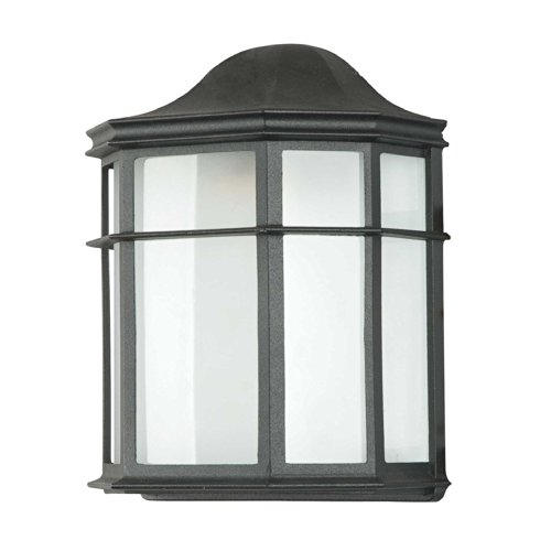 Sunset Lighting F7976-31 Outdoor Wall Sconce with White Acrylic Shades, Black Finish