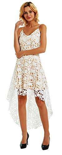 Ashir Aley V Neck Lace Dress for Women Plus Size Cocktail Dresses Evening Party Dresses Knee Length(L,White) ()