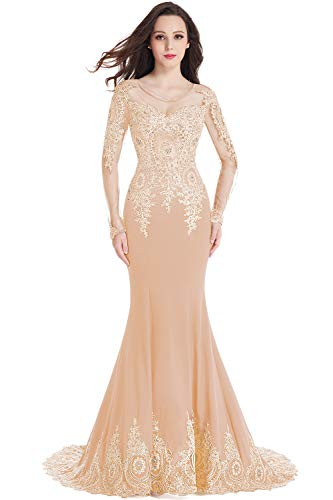 Crystal Applique Long Sleeve Mermaid Evening Dress for Women Formal Champagne 12