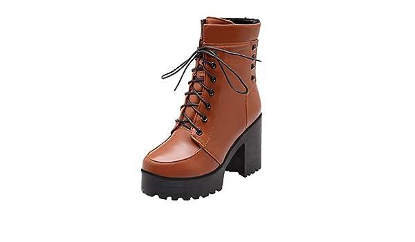 ღLILICATღ Zapatos con Cordones Mujer Botas Plisadas Botas Efecto ...