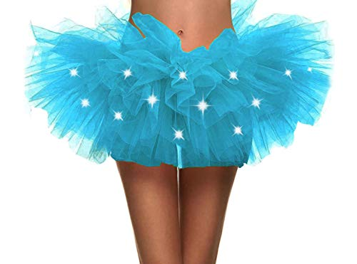 Simplicity Women's LED Light Up Neon Tulle Tutu Skirt Running Tutu,Sky Blue -
