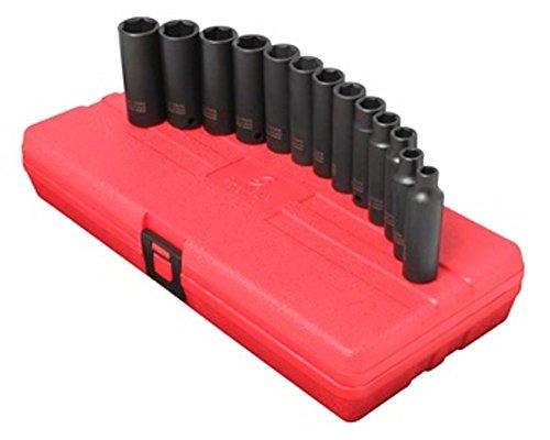 Sunex 3359 13 Piece 3/8-Inch Drive Deep Metric Socket Impact Set