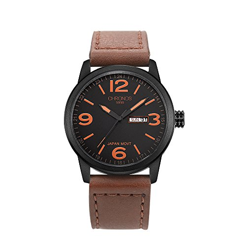 Chronos Quartz Brown Leather Men's Wrist Watch Waterproof Classic Round Black Dial Large Number (Chrono Dial)