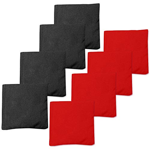 Sun Care Proof Age (Premium Weather Resistant Duck Cloth Cornhole Bags - Set of 8 Bean Bags for Corn Hole Game - Regulation Size & Weight - 4 Red & 4 Black)