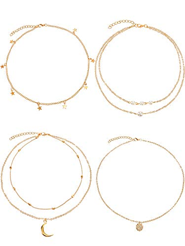 (BBTO 4 Pieces Layered Pendant Choker Necklace Gold Layering Chain Choker for Women Girls (Style B))