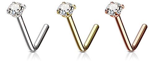 - 3 Pack: 18g 6mm Gold IP, Rose Gold IP Plated & Surgical Steel L Shaped Nose Ring with 3mm CZ Crystal
