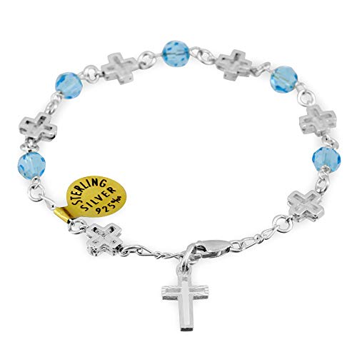 Sapphire Swarovski Crystal Beads Rosary Bracelet with Sterling Silver Crosses