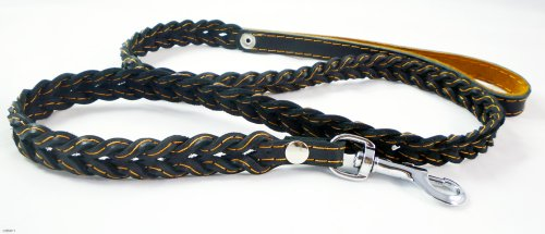 Genuine Leather Braided Dog Leash 4 Ft Long 3/4″ Wide, Black, My Pet Supplies