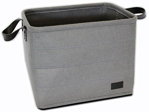 - Storage Bin / Basket (Medium) | Gray Felt With Handles (Riveted Black Leather) By Urban Legacy
