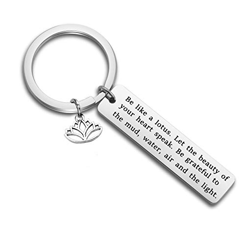 FUSTMW Lotus Keychain Be Like a Lotus Let The Beauty of Your Heart Speak Buddha Jewelry Inspirational Yoga Lover Gifts (Silver) (Lotus Heart)