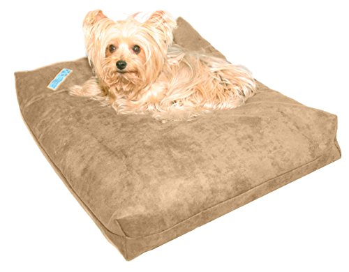 Five Diamond Collection Shredded Memory Foam Orthopedic Bed with Removable Washable Cover and Water Proof Inner Fabric, Small (25-Inch-by- 20-Inch), Smokey Taupe Microfiber, for Dogs