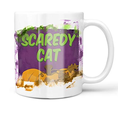 Neonblond 11oz Coffee Mug Scaredy Cat Halloween Pumpkin Top with your Custom Name]()