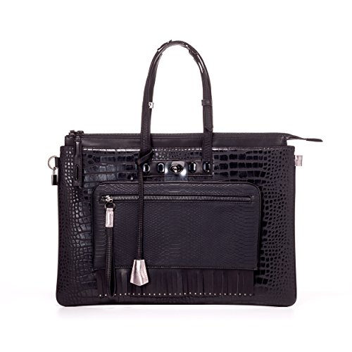 MULAYA Non Leather Designer Laptop Tote for Women. Black