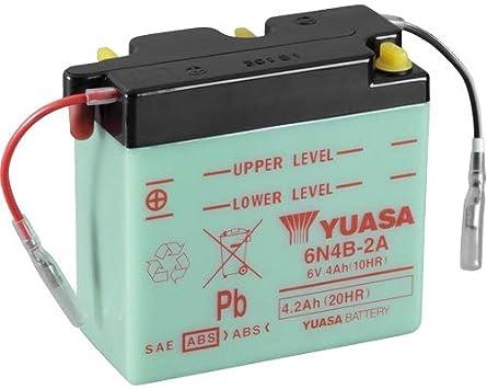 Motorrad Batterie Yuasa 6n4b 2a Dc Offen Ohne Säure 6v 4ah 102x48x96mm Auto
