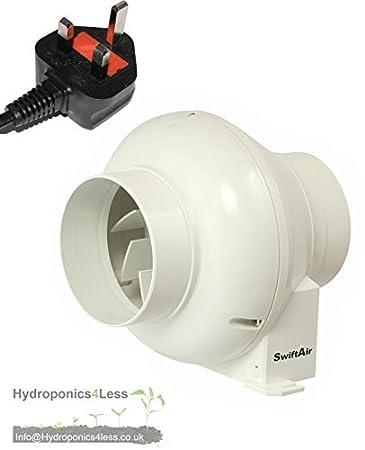 10,2 Cm Inline Dusche Badezimmer Hydrokultur Abluftventilator UK Stecker  Perfekt Für Zelte