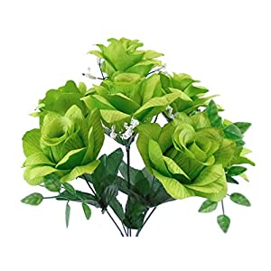 "2 Bushes Lime Open Rose Artificial Silk Flowers 15"" Bouquet 7-039 LIM 38"