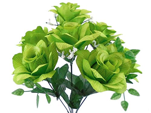 (2 Bushes Lime Open Rose Artificial Silk Flowers 14