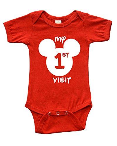 Short Sleeve Onesie w/My First Disney Visit, Red, 12-18m -