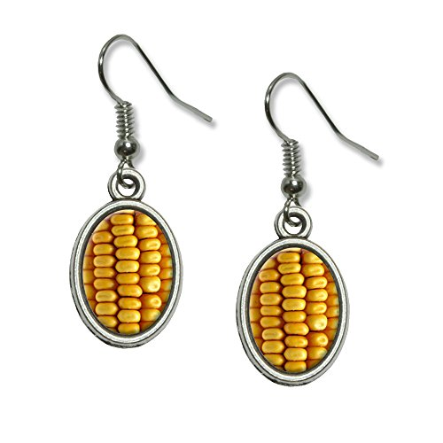 Corn Cob Kernals Novelty Dangling Drop Oval Charm Earrings