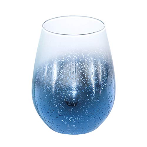 Vansee❤❤Nordic Transparent Star Glass Cup High Temperature Resistant Beer Drinking Mug (Blue)