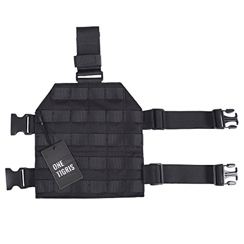 OneTigris 1000D Nylon Tactical MOLLE Drop Leg Platform for Hunting/Paintball/Airsoft (Black) - Molle Drop Leg Holster Panel