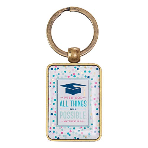 Graduation Cap Confetti Keychain-With God All Things Are Possible - Matthew 19:26 Bible Verse- Christian Art Gifts Key Ring in Cross Embossed Multicolor Confetti Tin Gift Box