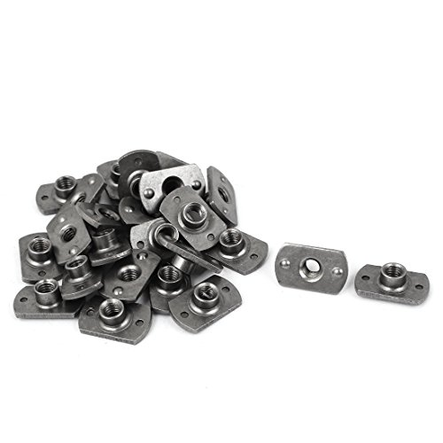 uxcell M6 Carbon Steel Slab Base T-Shaped 2 Projection Weld Nuts 25 Pcs