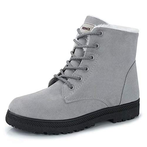 CIOR Women's Winter Warm Boots Suede Lace up Snow Boots Fashion Flat Platform Sneakers,NX01-Grey-37,5.5M