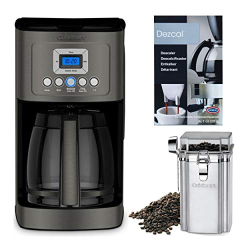 Cuisinart DCC-3200BKS 14 Cup Programmable Coffee Maker (Black, Stainless Steel) Bundle with Coffee Canister and Descaler (3 Items)