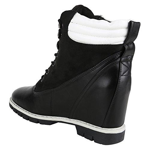 Stiefelparadies Damen Sneakers Keilabsatz Sneaker-Wedges High Top Schuhe Flandell Schwarz Weiss