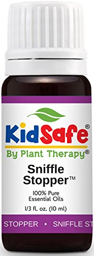 Plant Therapy KidSafe Sniffle Stopper Synergy Essential Oil Blend. Blend of: Fir Needle, Rosalina, Spruce, Cypress, Spearmint and Cedarwood Virginian. 10 ml (1/3 oz).