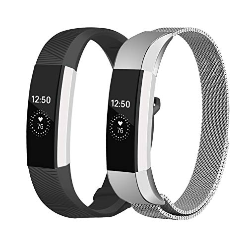 Stainless Steel Metal Band - Fundro Replacement Bands Compatible with Fitbit Alta and Alta HR,Stainless Steel Metal Bracelet Strap Replacement Wristband for Alta Women Men (#A Silver+#B Black, Small)