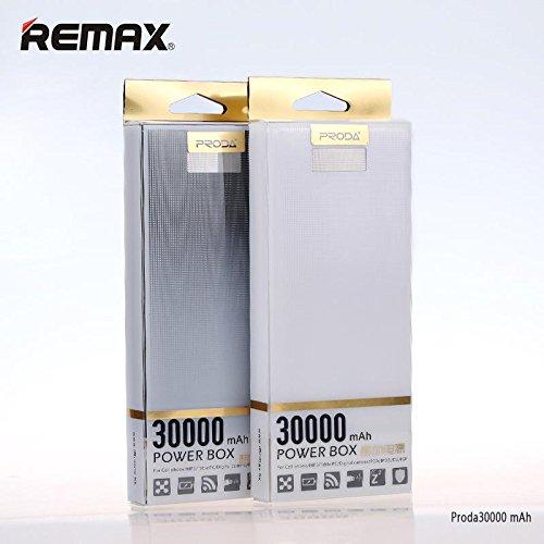 Cargador portátil remax Proda Power Bank/caja 30000mAh con doble salida USB y linterna integrada–negro
