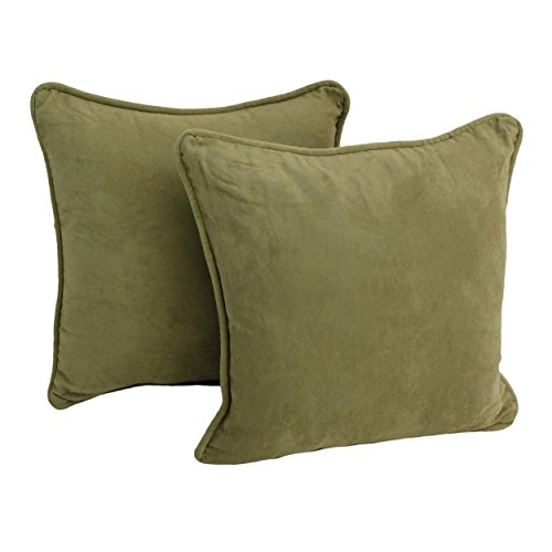 (Blazing Needles Solid Microsuede Double-Corded Square Throw Pillows with Inserts (Set of 2), 18