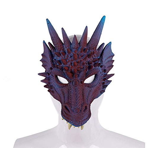 Xinjiahe 3D Mask Halloween Mardi Gras Carnival Party PU Foam Evil Dragon Mask for Adult and Child Mardi Gras Party,E]()