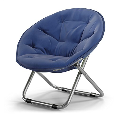 Folding chair / adult moon chair / sun chair / lazy chair / recliner / folding chair / round chair / sofa chair / solid color home folding chair / lazy couch / ( Color : Navy blue ) (Navy Blue Padded Recliner)