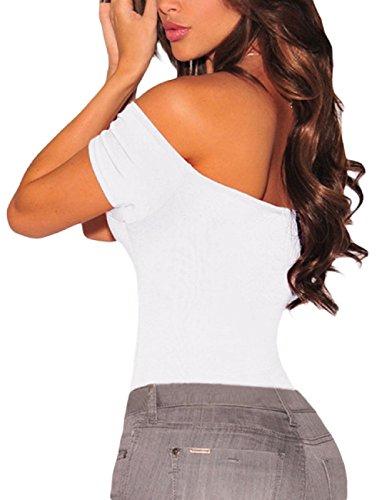 Bianco Body Le 2 Top Tuta Manica Donna Signore Lunga corta Leotard Lrud CqxnPtw5Oq