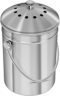 Utopia Kitchen Stainless Steel Compost Bin Kitchen Countertop - 1.3 Gallon Compost Bucket Kitchen Pail Compost Lid - Includes 1 Spare Charcoal Filter
