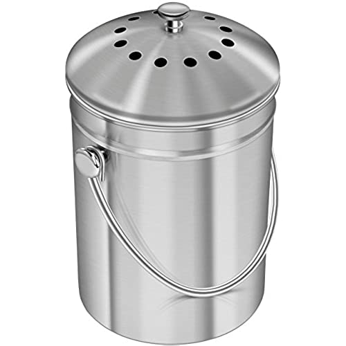 Premium Quality Stainless Steel Compost Bin 1.3 Gallon, Includes Charcoal  Filter   Utopia Kitchen