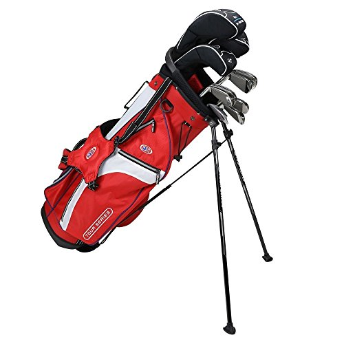 US KIDS GOLF Tour Series Tour Series 10 Club Stand Junior Set Bag with Graphite/Steel Shafts/5-SW, Red/White/Navy, 57-60