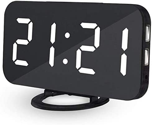 Ultra Thin Modern Snooze and Time Setting LED Digital Decorate Alarm Clock with Phone Charger for Home Decor White
